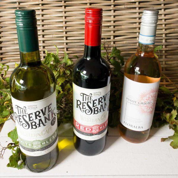 witte wijn, rode wijn, rose thuis uit eten